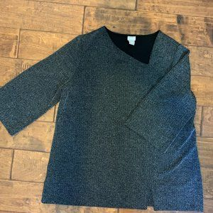 CHICO'S BLACK/GRAY HOUNDSTOOTH TOP SIZE 3